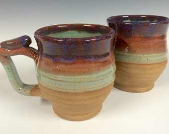 Large round purple rimmed mugs, handmade pottery, beer stein, ready to ship