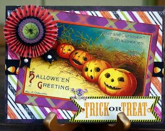 Vintage Style Halloween Card Jack-O-Lanterns