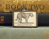 Jaguar Pendant - Book Charm - Jungle Cat - Soldered Glass Pendant - Dictionary Charm - Letter Monogram J - Unique Cat Jewelry OOAK