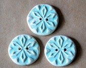 3 Handmade Stoneware Snowflake Buttons - Rustic buttons in a Frosty Light Blue Matte Glaze