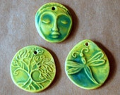 3 Handmade Ceramic Beads in Light Spring Green - Tree of Life, Dragonfly, and Meditation Face