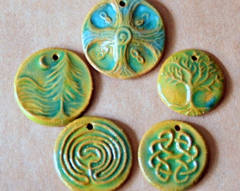 5 Handmade ceramic beads - Green and Brown Celtic Woodland beads
