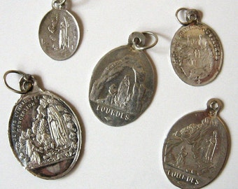 Antique Religious Pendant Charms 5 Sterling Silver Thin Lourdes France