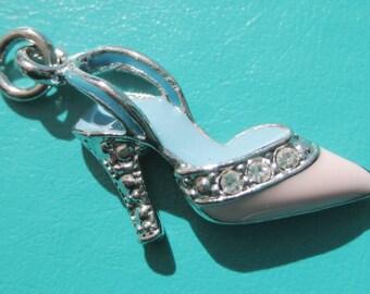 tiny Pink high heels metal charm