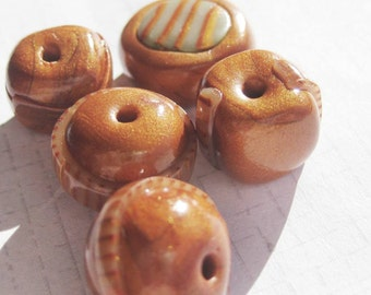 Handmade Earthy rustic Polymer Clay Beads x 5 pieces