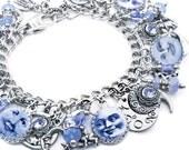 Blue Moon Jewelry, Moon Bracelet, Luna Bracelet, Man in the Moon Charm Bracelet, Blue Moon Bracelet
