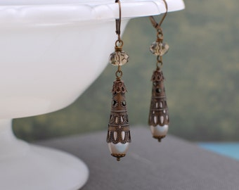 Antiqued Brass Filigree Long Drop Pearl Earrings