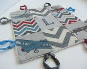 Baby Boy Lovey with Custom Hand Embroidered Name or Initial ~ Choice of Backing Fabric ~Vintage Airplanes Chevron Herringbone~Blue Gray Red