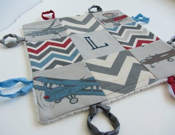 Baby Boy Lovey with Custom Hand Embroidered Name or Initial ~ Choice of Backing Fabric ~Vintage Airplanes Chevron ~Blue Gray Red Beige