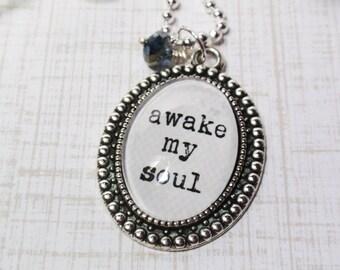 Antique Medium Oval- Glass Bubble Pendant Necklace- Awake My Soul- Song Lyrics