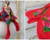 Vintage 1970/70s Floral boho folk scarf /Russia