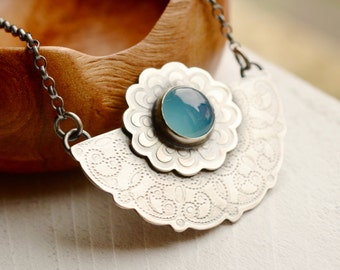Blue Chalcedony Necklace, Unique Textured Silver Lace Necklace, Bohemian Style Jewelry, Boho Chic Necklace with Oxidized Finish