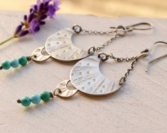 Crescent Moon Earrings, Hand Stamped Silver Earrings, Turquoise Earrings, Gypsy Style Earrings, Boho Style
