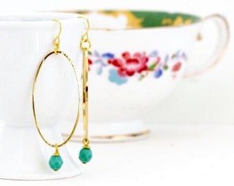 Oval Hoop Earrings, Gold Dangle Earrings, Sea Green Beads, Bohemian Earrings, Delicate, Lightweight Green and Gold, Gift For Her