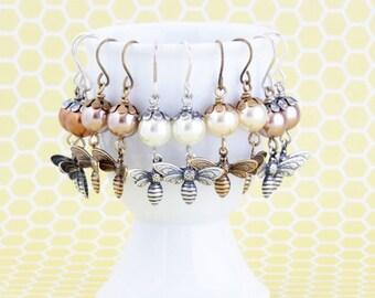 Bee Earrings - Insect Earrings - Nature Earrings - Silver or Brass - Pearl Bee Earrings - Bee Dangle Earrings - Whimsical Jewelry