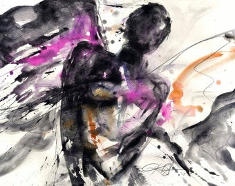"""Angel Watercolor painting, Abstract Art, Spiritual, Pink, Black, """"An Angelic Presence 5"""" Original contemporary by Kathy Morton Stanion EBSQ"""