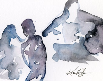 Calling All Angels No. 27 - Original Minimalist Abstract Watercolor Angel Painting by Kathy Morton Stanion EBSQ