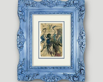 """Original Angel Watercolor Painting, on Antique Gospel Hymn Music Book from 1800s """"Calling All Angels No. 53"""" by Kathy Morton Stanion EBSQ"""