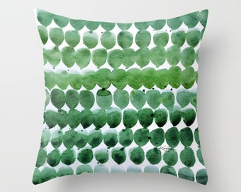 """Bright Green Pillow, Abstract Painting Watercolor Art, """"Color Jewels 18"""" Original abstract art painting by Kathy Morton Stanion  EBSQ"""