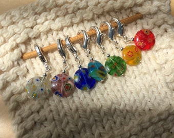 7 Stitch Markers - Your Choice Crochet or Knit - Flower Discs