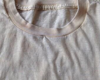 vintage creme beige crew neck t shirt undershirt