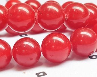 12mm Red Dyed Jade Full strand
