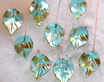 8 Teal Green Bling Leaves Head Pins Glass Headpins Handmade lampwork glass headpins by Beadfairy Lampwork
