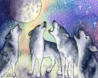 Siberian Husky Hund 5 x 7 8 x 10 11x14 Kunstdruck singen Sibes Schlittenhunde Chor Praxis Chormusik von Susan Alison den Mond anheulen Malerei