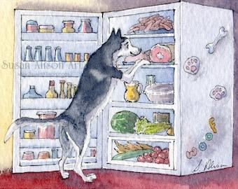 Siberian Husky Hund 5 x 7 8 x 10 11x14 Kunstdruck Sibe Auswahl aus Kühlschrank, Entscheidungen zu treffen versuchen von Susan Alison Aquarellmalerei entscheiden