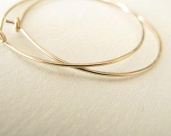 14k gold filled hoop earrings - 1.5 inch gold hammered hoops