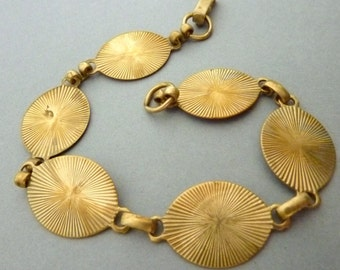 Antique Brass Link Bracelet - Art Deco