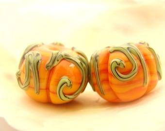 Pumpkin Bead Pair Handmade Lampwork