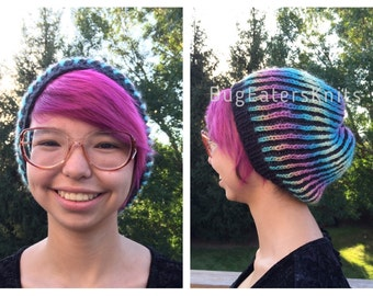 Colorful Chemo Hat, Black and Candy Rainbow Hat