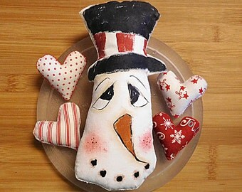 Snowman  Painted Pillow  Bowl Filler  Tuck Christmas Decoration