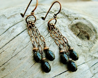 Black Obsidian and antiqued copper chain dangle earrings