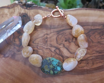 Turquoise and Citrine Bracelet - Stone - Natural -Yellow Sunshine - Gemstone Jewelry - Gypsy Bohochic - Copper - Free Spirit Bohemian Jewels
