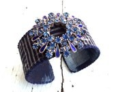 Indigo Kasuri Cuff with Blue Rhinestones