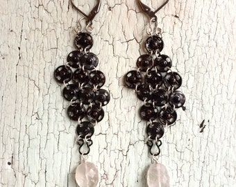 Chainmaille Earrings - Black and White