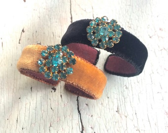 Velvet and Rhinestone Adjustable Cuffs
