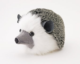 Stuffed Hedgehog Stuffed Animal Hemingway the Cute Plush Toy Grey Hedgehog Kawaii Plushie Fluffy Snuggly Faux Fur Toy Large 6x10 Inches