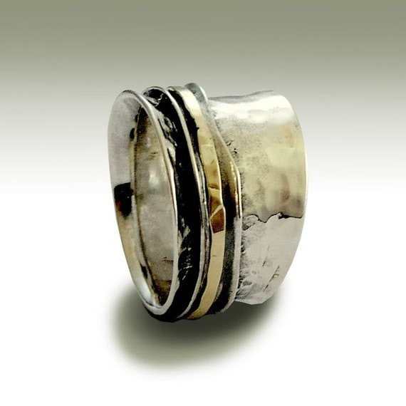 Wedding band, sterling silver ring, unisex band, silver gold ring, spinner ring, meditation ring, silver band - Stay on your mind R1026GB