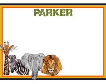 African Safari stationary,Safari thank you notes,Jungle notecards,Safari Birthday party,Jungle animal stationery, Zoo, kids