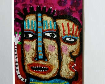 Original ACEO Raw Brut Outsider Mini Painting SPLiT Personality Matted In White 5x7 Tracey Ann Finley OOAK