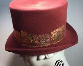 Top Hat- Coral Top Hat- Velour felt Victorian Riding Hat- Coachmans Hat- Fall Fashion- Steampunk Fashion- John Bull Top Hat- Formal Hat- Dre