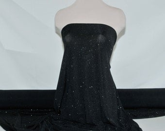 "Slinky spandex glittered Black 4 ways stretch fabric .formal wear/ costume / tops/ skirts/ pants/ 60"" wide"