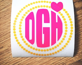 Sunshine Yellow Orange and Neon Hot Pink Monogram Vinyl Decal for Yeti Cups, Car, iPads, Computer or Whatever other Surface you can Find!!
