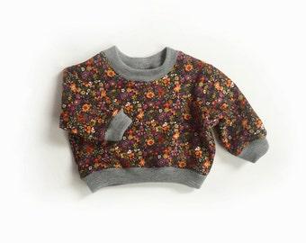 girls Liberty fleece sweatshirt, winter floral sweater, baby winter jersey, kids sweat shirt, merino wool trim