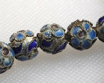 Strand of open work cloisonne 8 mm beads