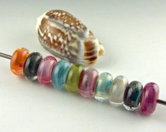 Handmade Lampwork Glass Beads, lampwork bead set, jewelry supplies, lampwork spacer bead, artist lampwork