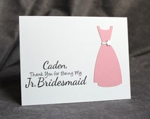 Custom Thank You Junior Bridesmaid Card Personalized with Name, Jr Bridesmaid Thank You Card, Silhouette Dress Card, LS1
